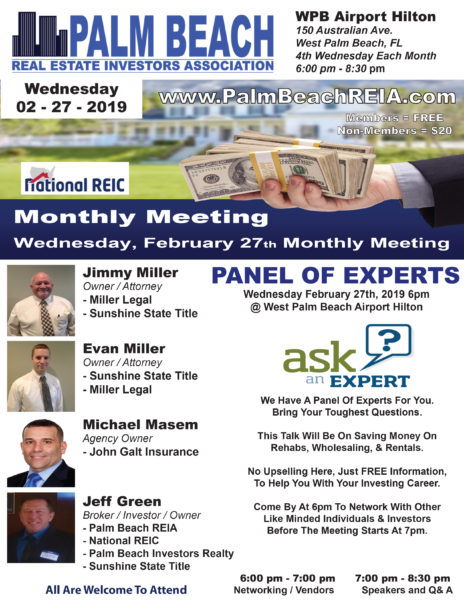 Wednesday February 27th - Monthly Meeting Panel Of Experts @ West Palm Beach Airport Hilton | West Palm Beach | Florida | United States