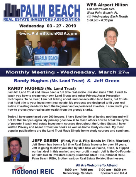 March Monthly Meeting with Randy Hughes Mr. Land Trust & Jeff Green @ West Palm Beach Airport Hilton | West Palm Beach | Florida | United States