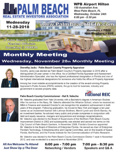 November 28th 2018 - PBC Commissioner Hal R. Valeche & Property Appraiser Dorothy Jacks @ West Palm Beach Airport Hilton | West Palm Beach | Florida | United States