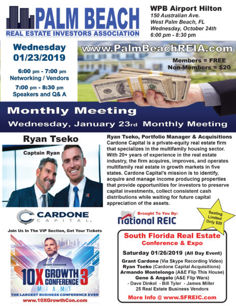 "Wednesday, January 23rd 2019 - ""Captain"" Ryan Tseko Cardone Capital @ West Palm Beach Airport Hilton 